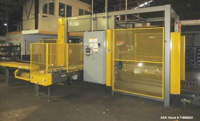Used- Columbia Model FL100 Automatic Low Level Full Case Palletizer. Capable of