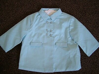 Vintage 60s 70s girls' pale blue coat raincoat, new deadstock