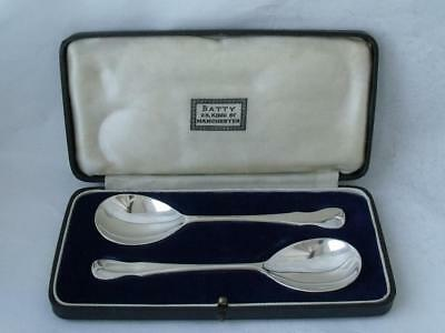 Smart Boxed Pair of Solid Sterling Silver Jam/ Jelly Spoons 1936/ L 12 cm