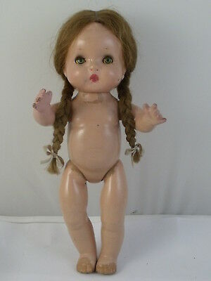 Old Vintage Effanbee  Baby Girl Doll Composition Mohair wig with pigtails