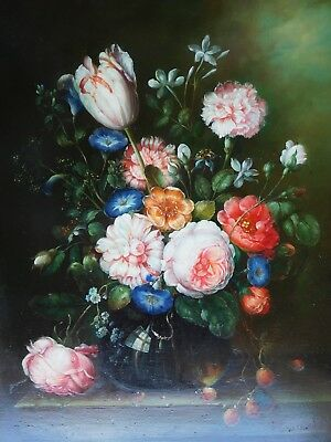 Incredible Victorian 19th Century Flowers Strawberries Oil Wood Panel Painting !
