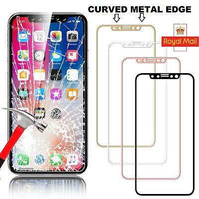 Apple iPhone X (10) 3D Curved Full Tempered Glass Screen Metal Edge Protector