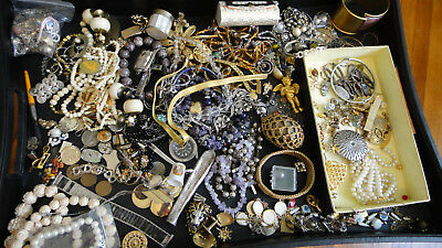 Antique Junk Drawer Mixed Lot VTG US Various Jewelry Watch Military Estate Coins