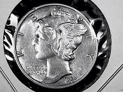 Us Silver Mercury Dime 1936 Philadelphia Mint In Bu Uncirculated Condition+++