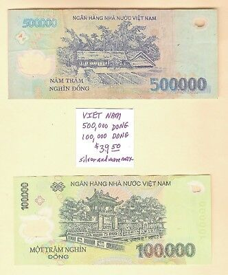 VIETNAM 2 NOTES~100,000 DONG + 500,000 DONG~Collectible Currency~ESTATE SALE