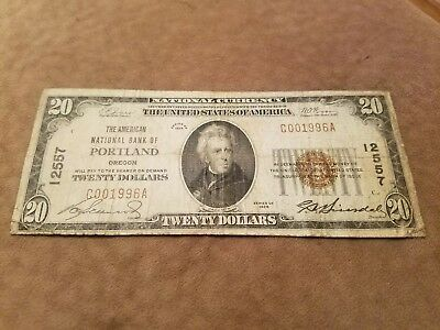 1929 The AMERICAN NATIONAL BANK OF PORTLAND, OREGON $20.00 low serial # 1996