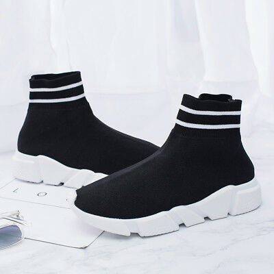 Size 35-43 New 2018 Women fashion sneakers High top soft breathable socks shoes