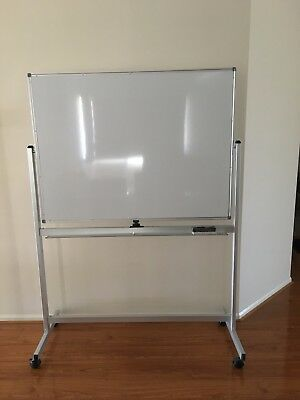 Mobile Whiteboard 120 x 90 cm With Stand Office Magnetic Marker Double Sided