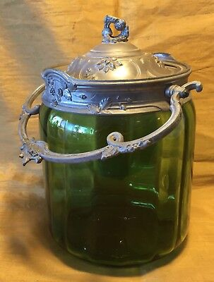Antique Emerald Green Glass & Ornate Embossed Pewter Cookie Biscuit Jar / Barrel