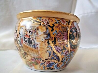 """Gold Trimmed Japanese Bowl Hand Painted 4"""" x 3"""" Elegant"""