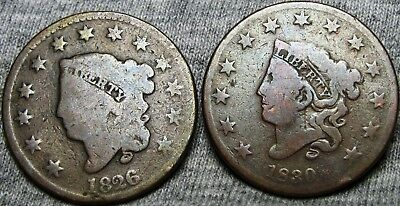1826 1830 Coronet Head Large Cent Type Penny  --- Nice Lot --- #A614