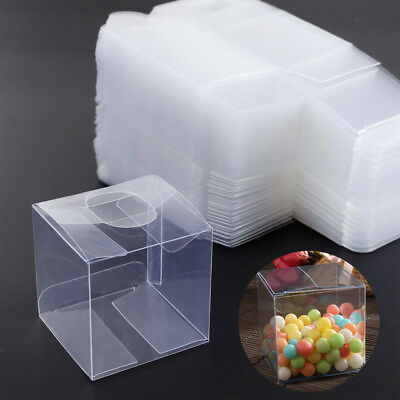 10/50/100X Square Transparent PVC Cube Gift Candy Boxes Clear Wedding Party Decr