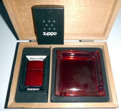 New Zippo Gift Set Red Zippo Lighter With Red Ashtray In Box