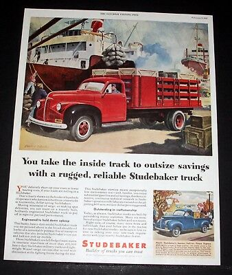 1947 Old Magazine Print Ad, Studebaker, Builder Of Trucks You Can Trust, Art!