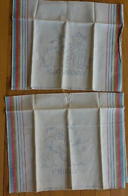 Vintage Stamped Vogart Kitchen Towels Lot of 2 to Embroider Day of  Week