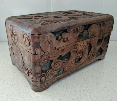 Antique_Chinese Dragons_Hand carved, Camphor, Jewellery, Storage Chest, Box