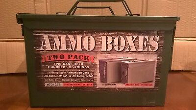 Military Style Ammunition Ammo Boxes Metal Cans .30 Caliber & .50 Cal 2 New Pack