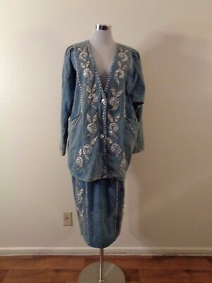 80s BLUE WASHED COTTON SILVER SEQUIN BEAD DESIGNS SILVER STUD TRIM SKIRT SUIT