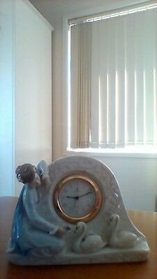 Lladro Clock With Lady And Swans Vgc