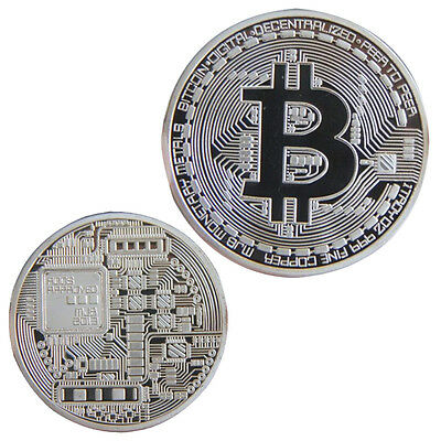 Silver Plated Bitcoin Coin Collection Physical BTC Coin Art collectible gift new