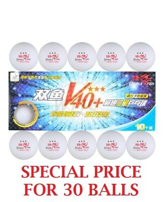 Double Fish V40+ Volant 3 Star Table Tennis Balls (30Pcs) White ITTF Approved