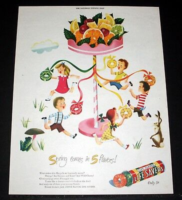 1947 Old Magazine Print Ad, Life Savers Candy, Spring Comes In 5 Flavors, Art!
