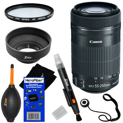 Canon EF-S 55-250mm F4-5.6 IS STM Telephoto Zoom Lens + 6pc Accessory Kit