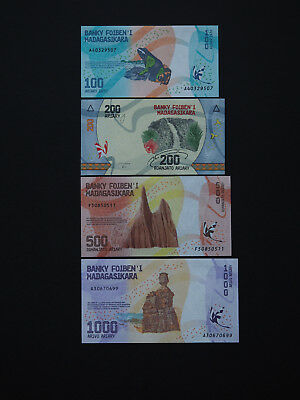 MADAGASCAR BANKNOTES  - Value new 2017 set of four  -  Great Colour  MINT UNC