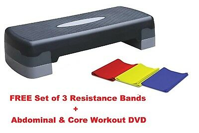 Aerobic Fitness Step Fitness Cardio Workout Stepper FREE Resistance Bands & DVD