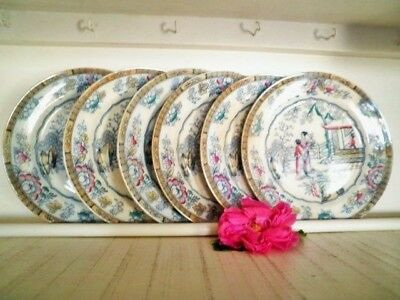 Antique Dinner Plates X6 Gildea & Walker C1881-85 Chinoiserie Chinese Pagoda **