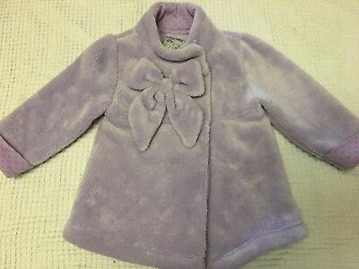 BABY BABY Girls Soft Purple Winter Coat with Bow - EUC - Size 0