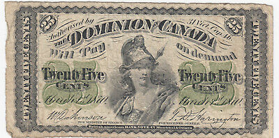 1870 Dominion of Canada Twenty-Five Cents - DC-1c
