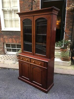 Victorian Mahogany Glass Front Bookcase - Cabinet