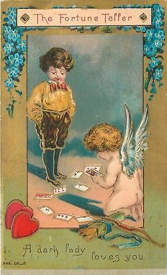 Valentine~The Fortune Teller~Cupid Reads Cards~A Dark Lady Loves You~Gold~Emb
