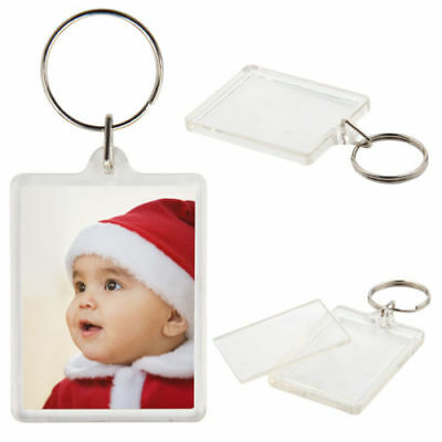 20  Clear Acrylic Plastic BLANK KEYRINGS 45 x 35 mm Insert - PASSPORT PHOTO SIZE