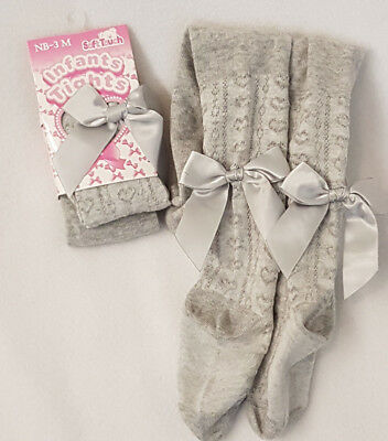 Baby Toddler Girl Silver Grey Tights Hearts Bows Winter tights Newborn - 2yrs