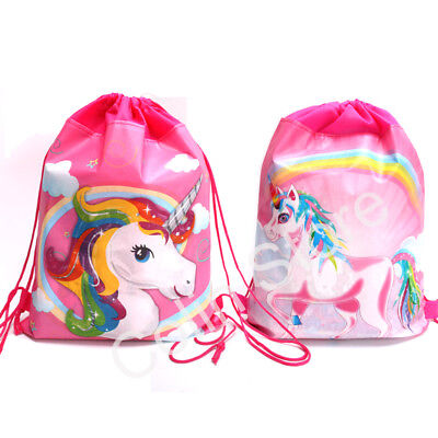 New Unicorn Drawstring Backpack Girls Princess Swim Kids Shoes Party Bag Gift