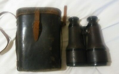 Vintage Antique (WWI Era?) Colmont Paris Binoculars Opera Glasses W Leather Case