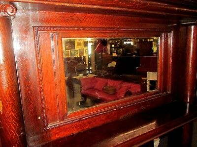 Antique Highly Figured Tiger Oak Mantel W/ Beveled Mirror Circa 1900 Beautiful !