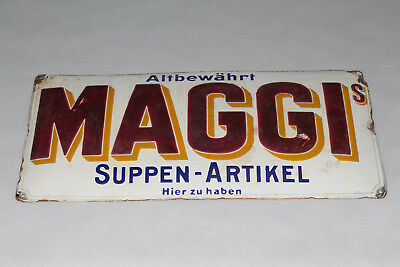 1920 original Emailschild Maggi altbewährt Suppen Artikel - altes Original