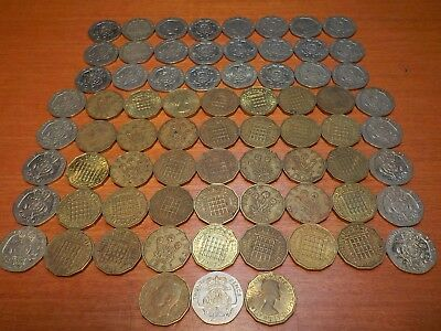 Mixed Lot of Circulated Coins from England     3 and 20 Pence
