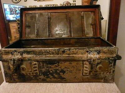 Antique 18th/19th century wrought iron watertight document / strong box