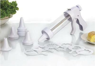 Cookie & Cake Decoration Kit Pastry Set 1 Press 12 Frosting Tip Nozzles 6 Molds