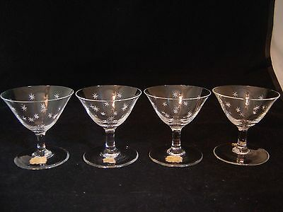 Vintage Set Of Four Real Crystal Hand Cut Cordial Glasses Bavaria Germany