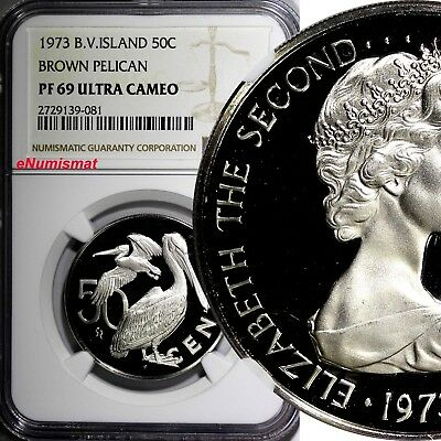 British Virgin Islands 1973 50 Cents NGC PF69 ULTRA CAMEO TOP GRADED BY NGC KM#5