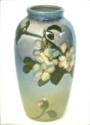 "ROOKWOOD 7"" APPLE BLOSSOMS & LEAVES IRIS GLAZE #922 MARIANNE MITCHELL Circa 1903"
