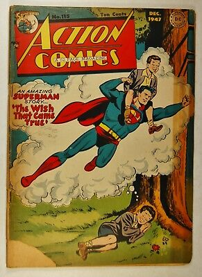 """Action Comics #115 (Dec 1947, DC) Superman in """"The Wish that Came True!"""""""