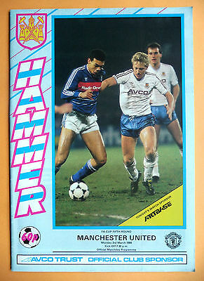 1985/1986 West Ham United v Manchester United - f a cup round 5 - 03/03/1986
