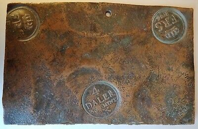Incredibly Rare And Huge Sweden 4 Daler Plate Money 1736! Must See!