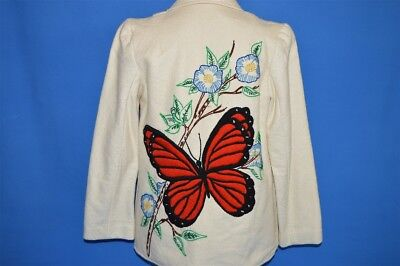 vintage 70s BUTTERFLY EMBROIDERED WOMEN'S WHITE RED FLOWERS BUTTON JACKET SZ 10